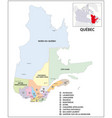 administrative map canadian province qubec vector image vector image