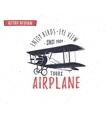Airplane emblem Biplane label Retro Plane badges vector image vector image
