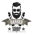 barber shop retro label logo vintage emblem or vector image