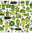 birdhouses seamless pattern for your design vector image vector image