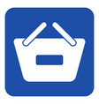 blue white sign - shopping basket minus icon vector image vector image