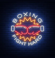 boxing logo neon sign emblem is isolated vector image vector image