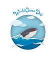 card world oceans day style paper art vector image