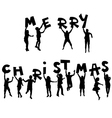 Children silhouettes with Merry Christmas message vector image vector image