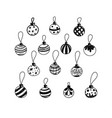 christmas decorations drawn by hand doodle set vector image vector image