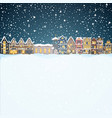 christmas house in snowfall at the night happy vector image vector image