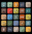 classroom line flat icons with long shadow vector image vector image