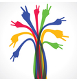 colorful hand show the victory sign stock vector image vector image