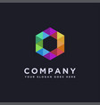 colorful hexagon logo icon on black background vector image