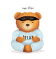 cool teddy bear sleeping relaxing in pajamas vector image