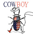 creative background with cowboy beetle in usa flag vector image vector image