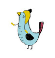 Cute colorful cartoon bird funny sticker of birds