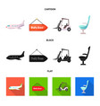 design airport and airplane icon vector image vector image