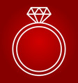 diamond ring line icon valentines day vector image