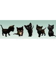 five cartoon cute black kitten in different poses vector image vector image
