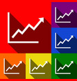 growing bars graphic sign set of icons vector image