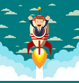 happy businessman on a rocket ship launching to vector image