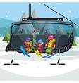 happy cartoon kids riding in ski lift vector image vector image