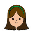 happy girl face character female young vector image