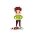 happy naughty boy with crazy hair flat character vector image