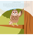 Happy Owl on the Tree flat background vector image vector image
