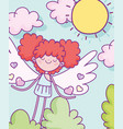 happy valentines day cute cupid with hairred vector image vector image
