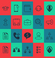 hr icons set collection of anonymous briefcase vector image vector image