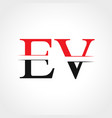 initial ev letter linked logo business template vector image vector image