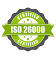 iso 26000 standard certificate badge - social resp vector image vector image