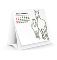 January 2014 desk horse calendar vector image vector image