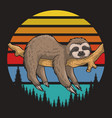 lazzy sloth retro sunset vector image vector image