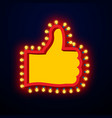 Like sign with glowing lights thumb up symbol of