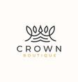 monoline crown floral logo template vector image vector image