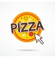 Online pizza order icon internet arrow on pizza vector image