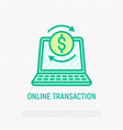 online transaction thin line icon vector image