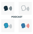 podcast icon set four elements in diferent styles vector image vector image