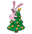 rabbit and christmas tree vector image vector image