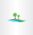 river water flow and tree landscape icon vector image