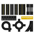 road markings top view icon set vector image