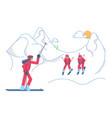 school skiers on winter mountain landscape vector image