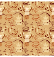 Seamless pattern with coffee cups beans grinder vector image vector image