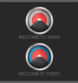 set 3d icon welcome to japan and tokyo mount fuji vector image