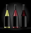 set three bottles wine on a dark background vector image