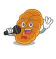 singing challah mascot cartoon style vector image vector image