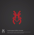 spider outline symbol red on dark background logo vector image