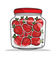 strawberries jar vector image