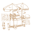 Street food Hot dog stand hand drawn vector image