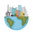 Sustainable city with wind energy vector image