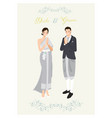 thai couple in traditional light blue-grey dark vector image vector image