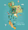 thailand cartoon map with destinations elements vector image